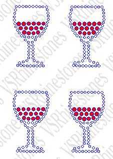 Wine Mini Rhinesone Transfer - set of 4